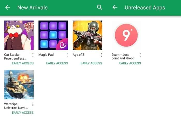 New arrival and unreleased app list