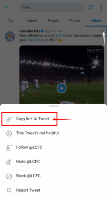 Copy tweet link