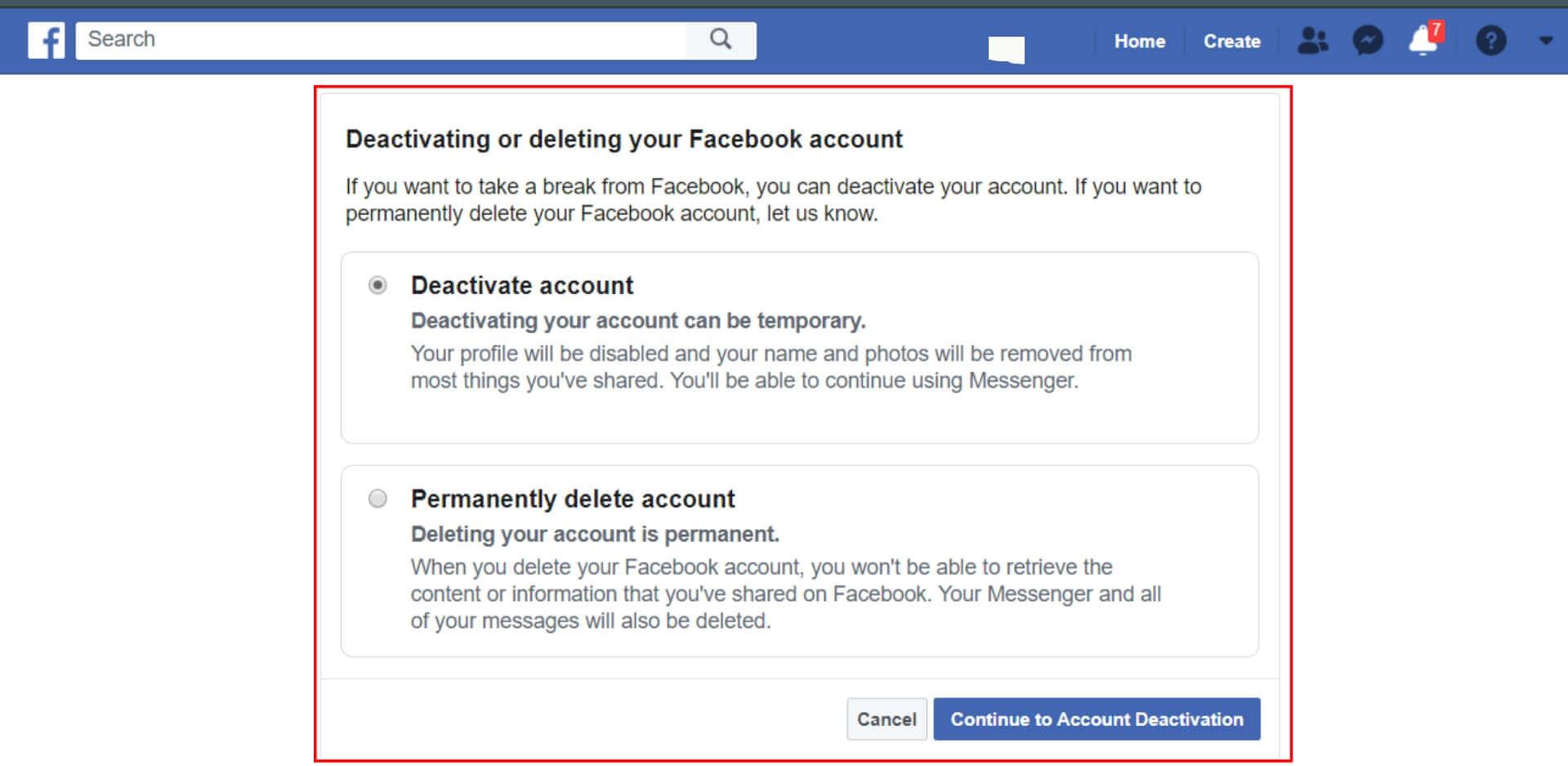 fb account delete