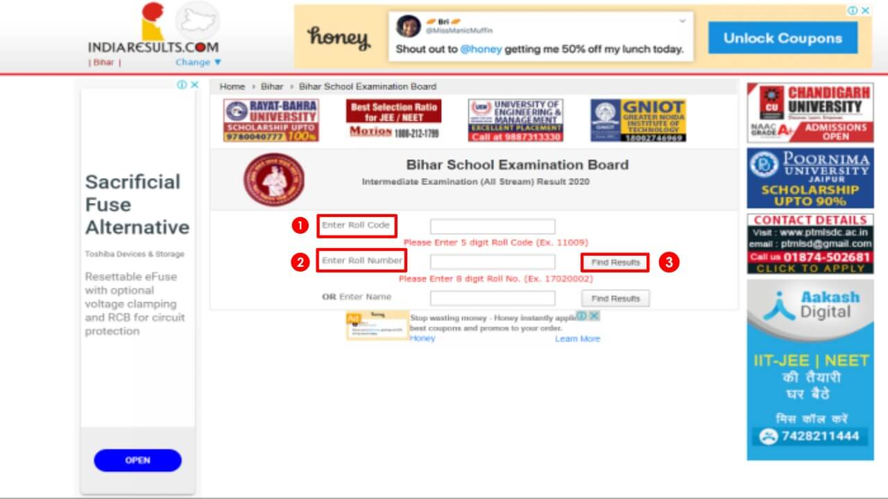 check bseb result online
