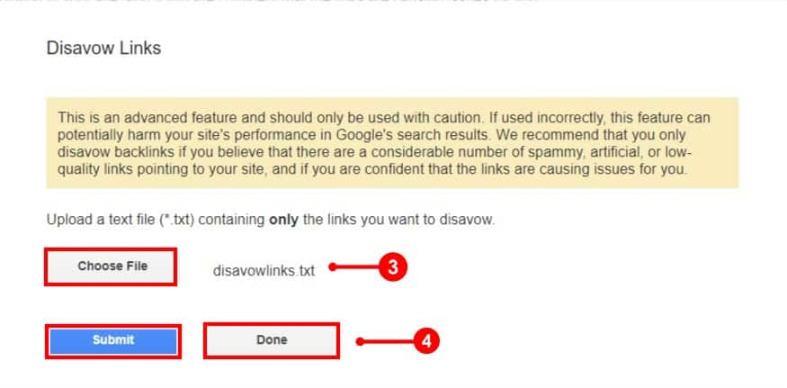 upload and Submit disavow links