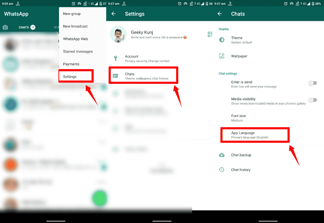 How to change language in whatsapp