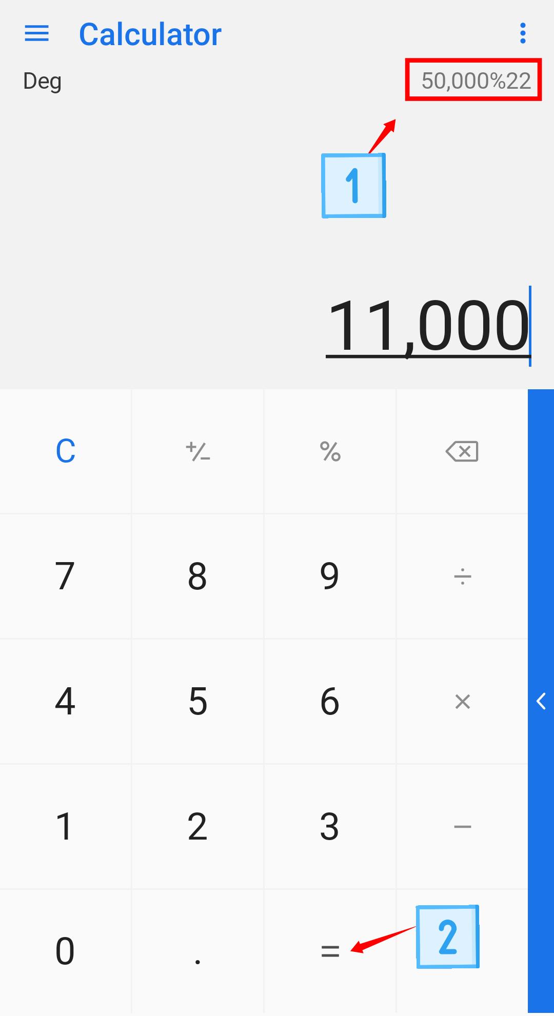 Calculate percentage in calculator