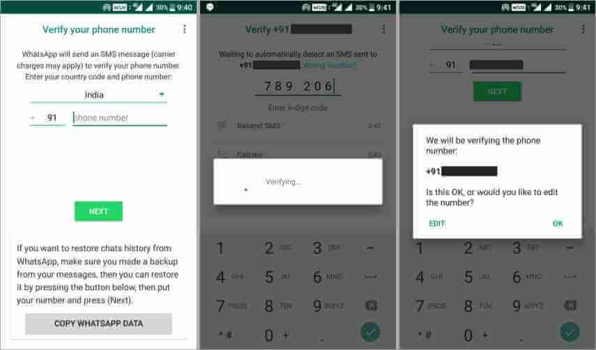 verify mobile number in yo whatsapp