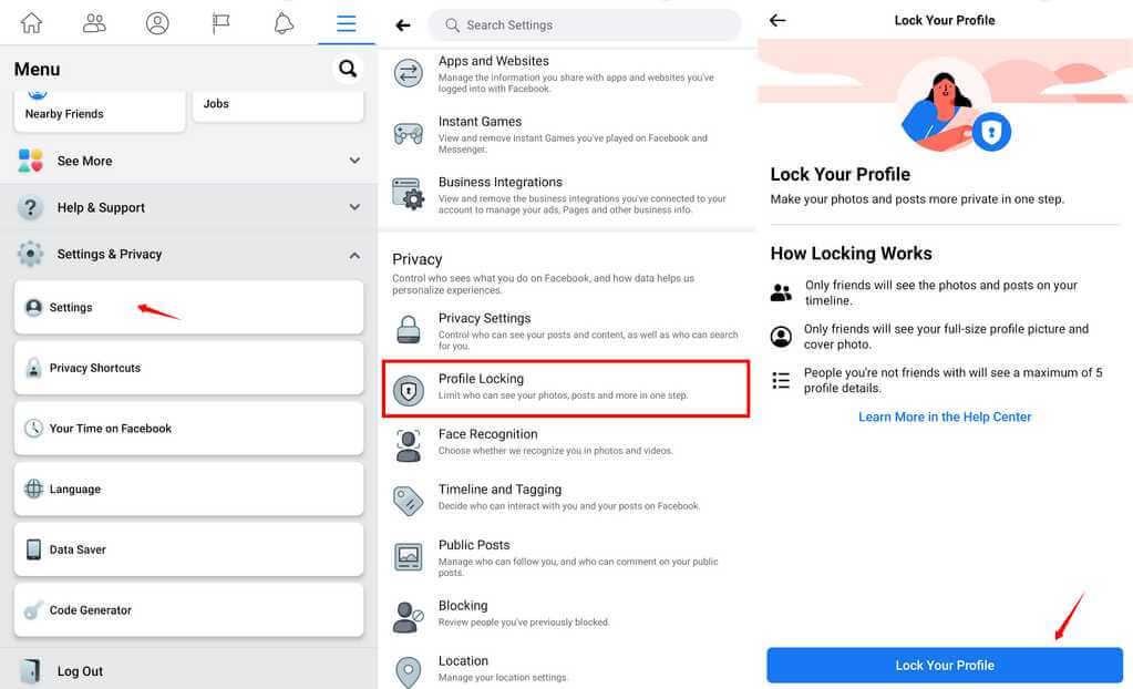 lock fb profile process