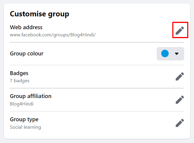 customize group web address