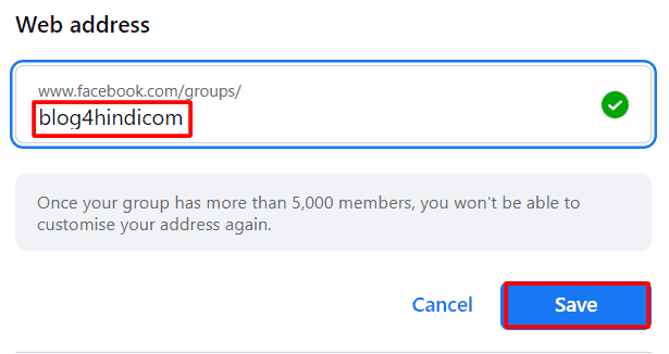 save custom group web address